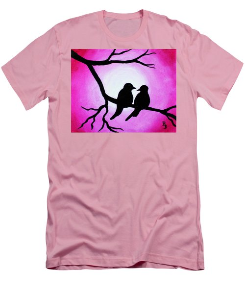 Men's T-Shirt (Athletic Fit) featuring the painting Red Love Birds Silhouette by Bob Baker