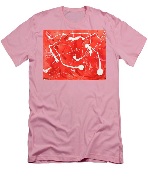 Men's T-Shirt (Slim Fit) featuring the painting Red Spill by Thomas Blood
