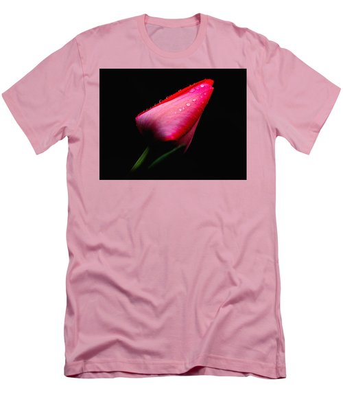Red Tulip With Raindrops Men's T-Shirt (Slim Fit) by Trina Ansel