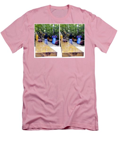Men's T-Shirt (Slim Fit) featuring the photograph Renaissance Slide - Gently Cross Your Eyes And Focus On The Middle Image by Brian Wallace