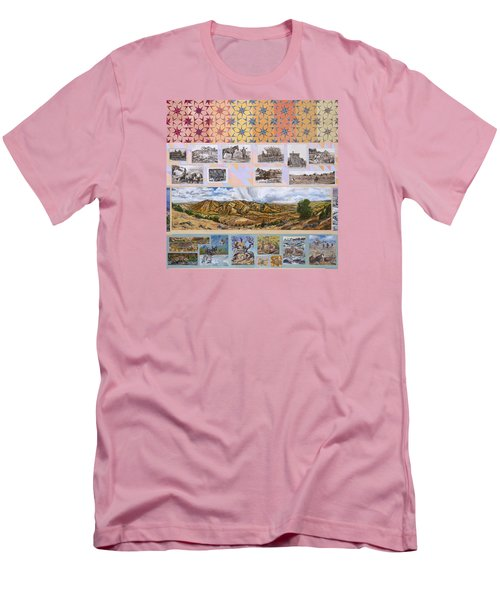 Men's T-Shirt (Slim Fit) featuring the painting River Mural Autumn Panel Top Half by Dawn Senior-Trask