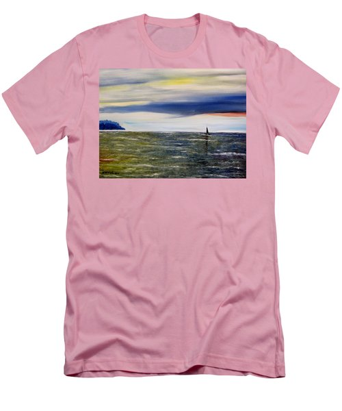 Men's T-Shirt (Slim Fit) featuring the painting Sailing At Dusk by Marilyn  McNish