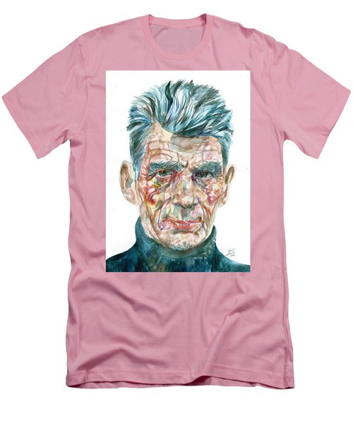 Men's T-Shirt (Slim Fit) featuring the painting Samuel Beckett Watercolor Portrait.10 by Fabrizio Cassetta
