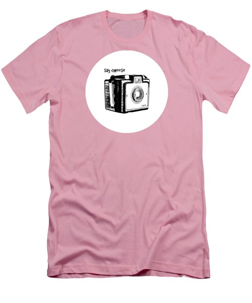 Say Cheese Old Film Camera Round Circle Blanket Towel Men's T-Shirt (Athletic Fit)