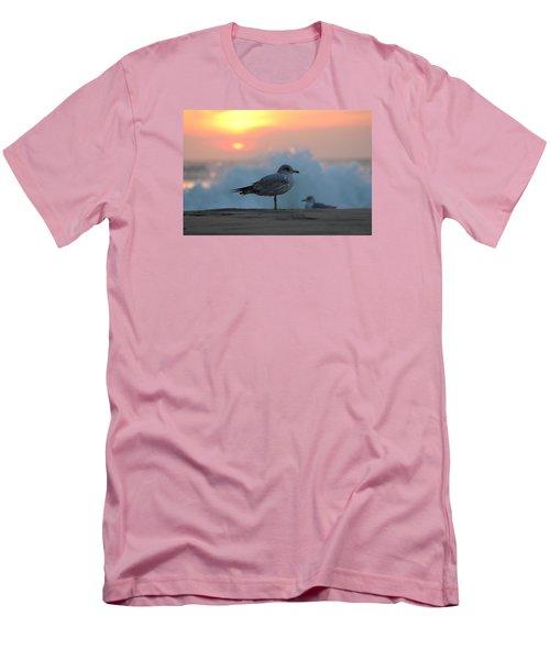 Seagull Seascape Sunrise Men's T-Shirt (Slim Fit) by Robert Banach