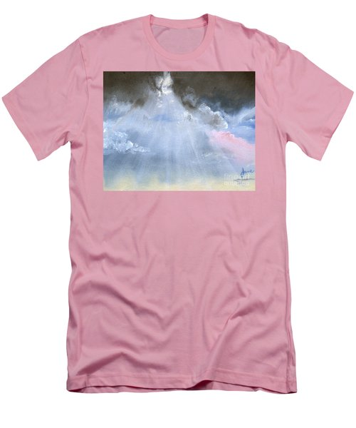 Men's T-Shirt (Slim Fit) featuring the painting Silver Lining Behind The Dark Clouds Shining by Jane Autry