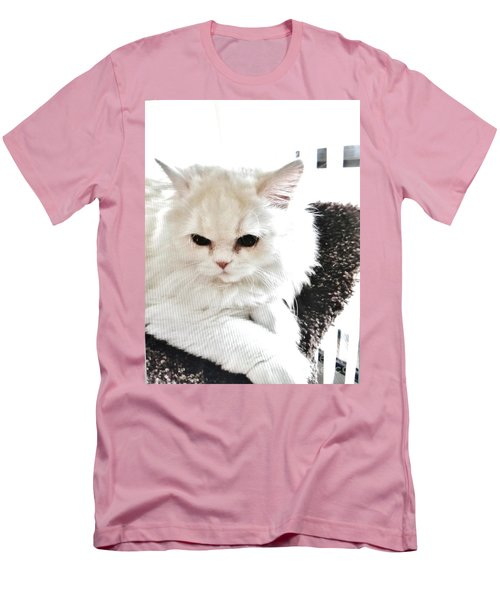 Men's T-Shirt (Slim Fit) featuring the photograph Snowball Is 92 Year Old Widows Cat by Marsha Heiken