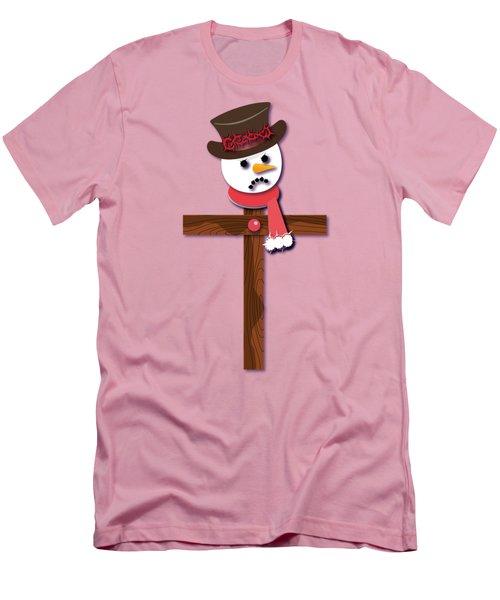 Snowman Christian Cross Men's T-Shirt (Slim Fit) by Reggie Hart