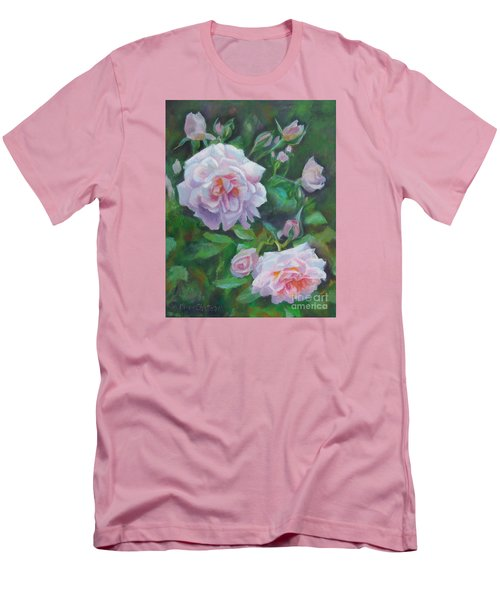 Men's T-Shirt (Slim Fit) featuring the painting Softly Pink Roses by Karen Kennedy Chatham
