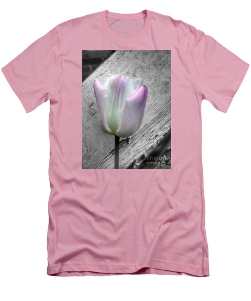 Solitary Pink Whisper Tulip Men's T-Shirt (Athletic Fit)