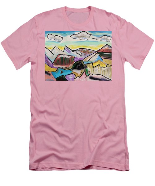 Men's T-Shirt (Slim Fit) featuring the painting Some Gold In The Hills by Mary Carol Williams