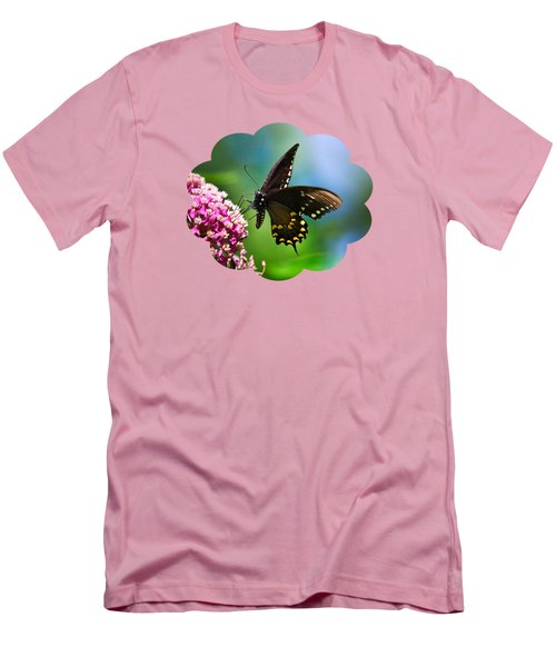 Spicebush Swallowtail Butterfly On Pink Flower Men's T-Shirt (Slim Fit) by Christina Rollo
