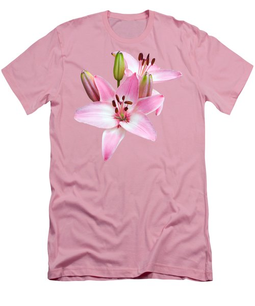 Spray Of Pink Lilies Men's T-Shirt (Athletic Fit)
