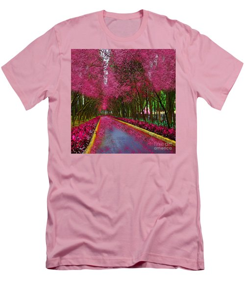 Spring Cherry Blossoms Men's T-Shirt (Slim Fit) by Saundra Myles