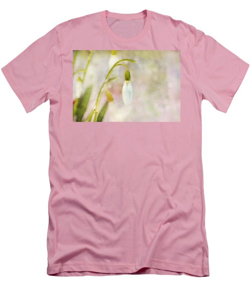 Spring Snowdrops And Bokeh Men's T-Shirt (Slim Fit) by Peggy Collins