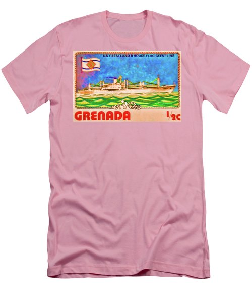 S.s Geestland And House Flag Geest Line Men's T-Shirt (Slim Fit) by Lanjee Chee