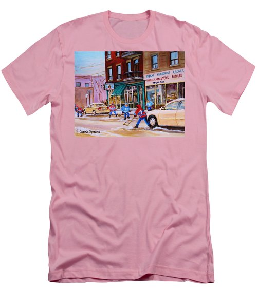 Men's T-Shirt (Slim Fit) featuring the painting St. Viateur Bagel With Boys Playing Hockey by Carole Spandau