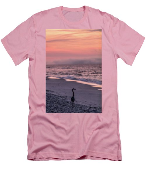 Men's T-Shirt (Slim Fit) featuring the photograph Sunrise Beach And Bird by John McGraw