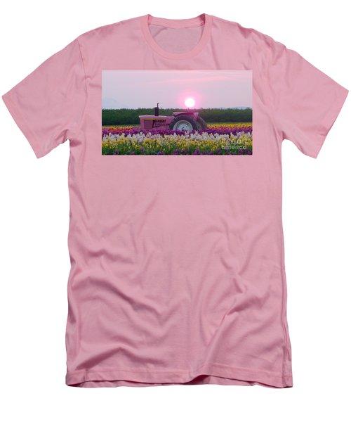 Sunrise Pink Greets John Deere Tractor Men's T-Shirt (Slim Fit) by Susan Garren