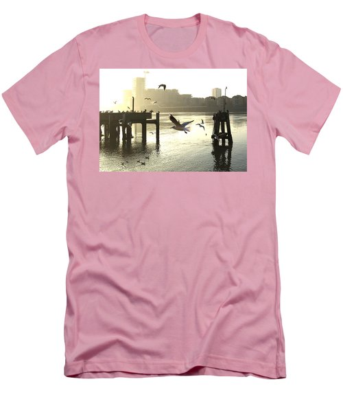 Sunrise With Seagulls Men's T-Shirt (Athletic Fit)