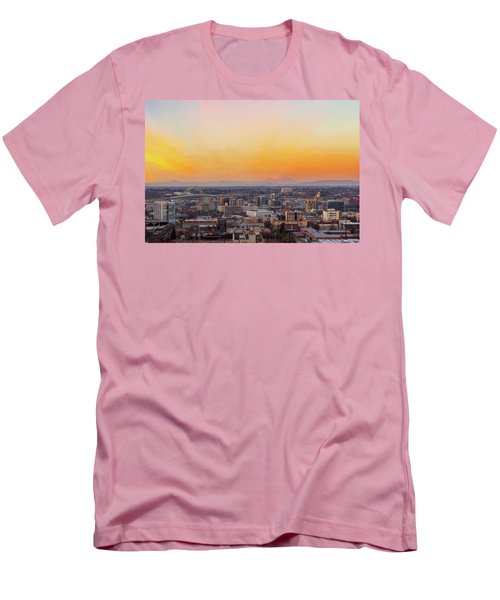 Sunset Over Portland Cityscape And Mt Saint Helens Men's T-Shirt (Athletic Fit)