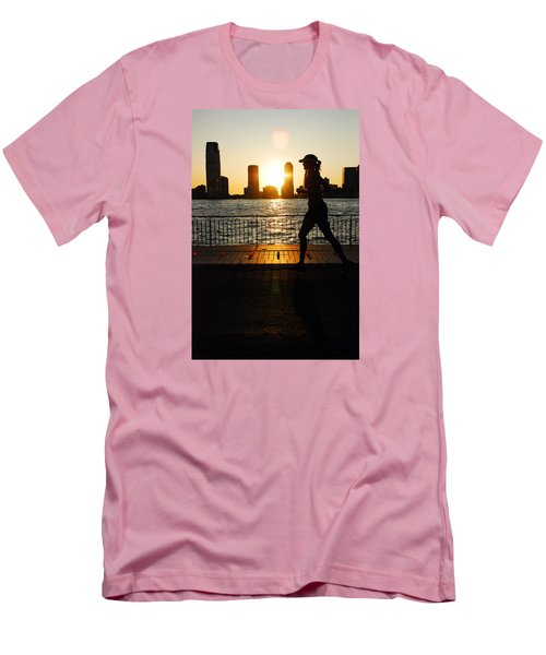 Men's T-Shirt (Slim Fit) featuring the photograph Sunset Runner by James Kirkikis