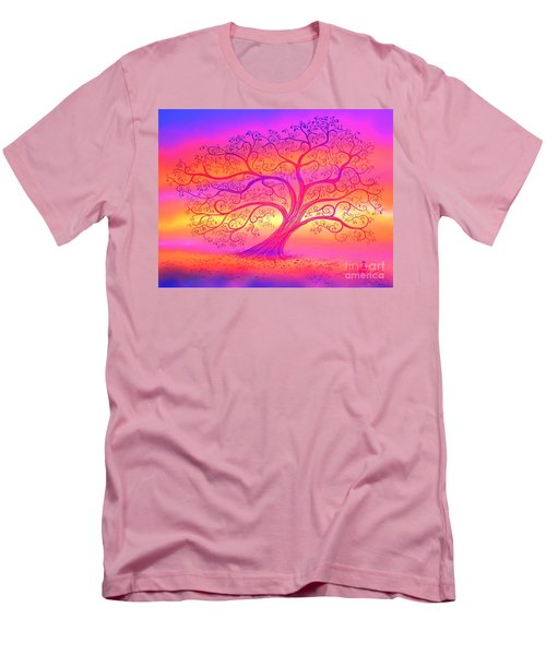 Men's T-Shirt (Slim Fit) featuring the painting Sunset Tree Cats by Nick Gustafson