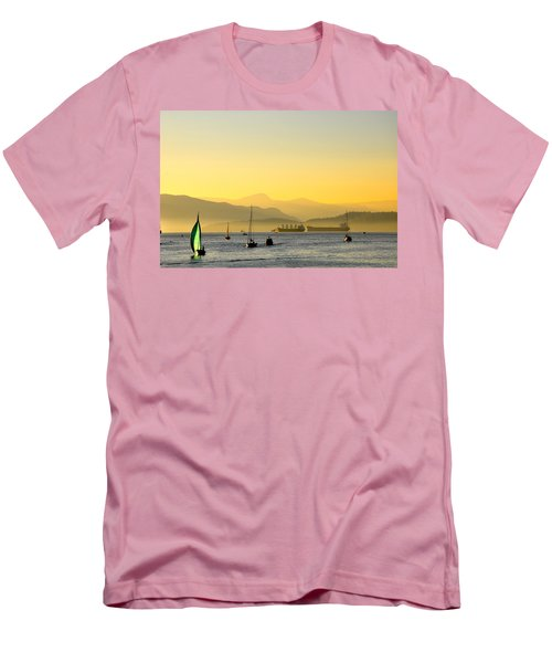 Sunset With Green Sailboat Men's T-Shirt (Athletic Fit)
