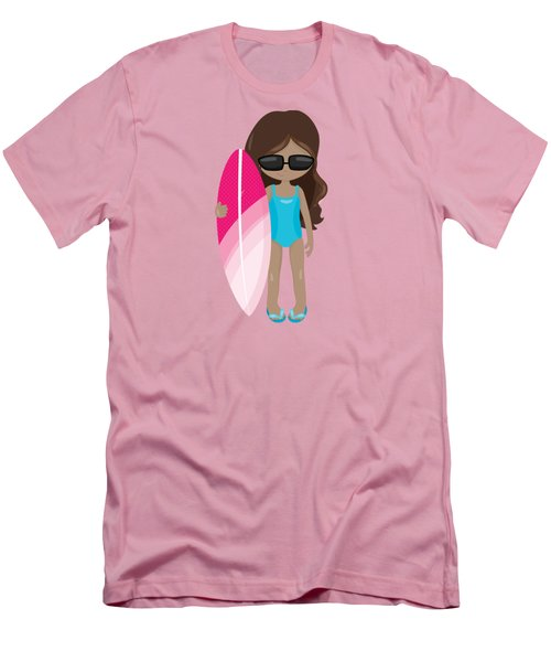 Surfer Art Surf's Up Girl With Surfboard #16 Men's T-Shirt (Athletic Fit)
