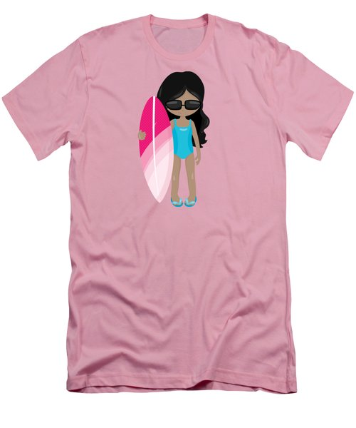 Surfer Art Surf's Up Girl With Surfboard #17 Men's T-Shirt (Athletic Fit)
