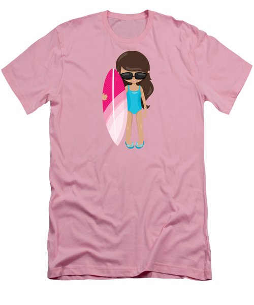 Surfer Art Surf's Up Girl With Surfboard #18 Men's T-Shirt (Athletic Fit)