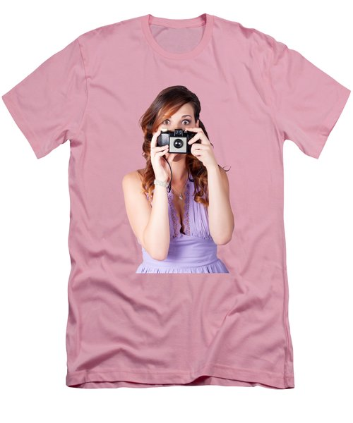 Surprised Woman Taking Picture With Old Camera Men's T-Shirt (Slim Fit) by Jorgo Photography - Wall Art Gallery