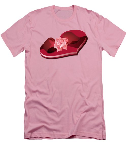 Sweetheart Candy Box With Pink Rose Men's T-Shirt (Slim Fit) by MM Anderson