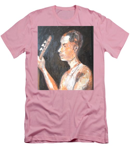 Men's T-Shirt (Athletic Fit) featuring the painting The Baglama Player by Esther Newman-Cohen