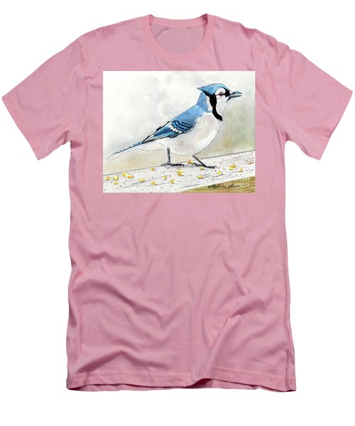 The Bluejay, Bird Painting, Bluejay Painting, Bird Print, Bird Painting Men's T-Shirt (Athletic Fit)