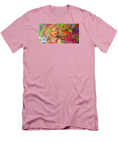 The Girl With The Flowers In Her Hair Men's T-Shirt (Slim Fit) by Jeanette Jarmon
