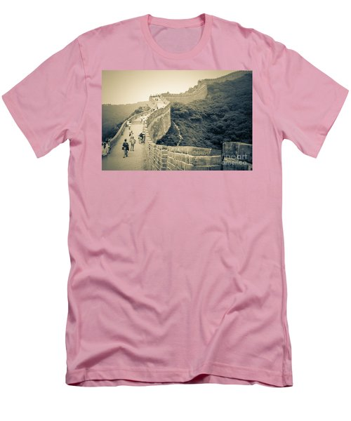 Men's T-Shirt (Slim Fit) featuring the photograph The Great Wall Of China by Heiko Koehrer-Wagner