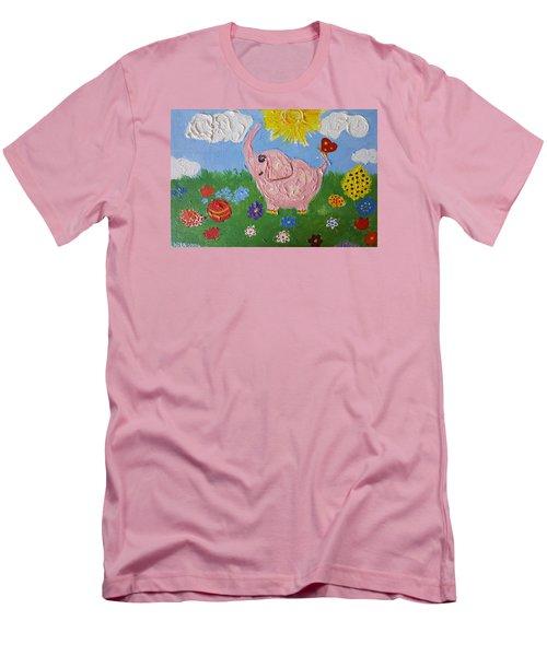 Little Pink Elephant Men's T-Shirt (Slim Fit) by Rita Fetisov