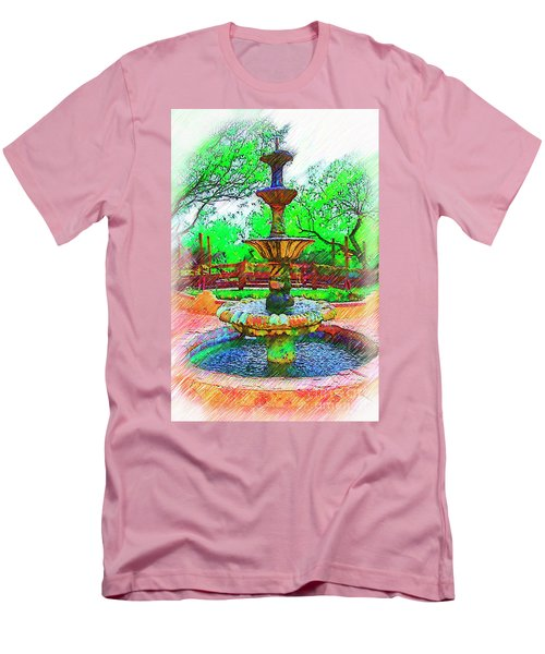 The Spanish Courtyard Fountain Men's T-Shirt (Slim Fit) by Kirt Tisdale