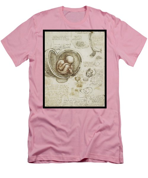Men's T-Shirt (Slim Fit) featuring the painting The Womb And Embreyo  by James Christopher Hill