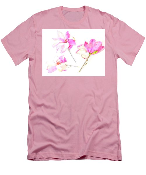 Three Magnolia Flowers Men's T-Shirt (Slim Fit) by Linde Townsend