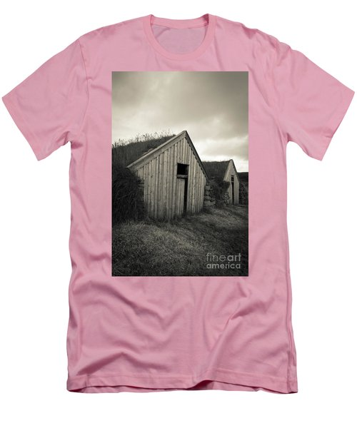 Men's T-Shirt (Athletic Fit) featuring the photograph Traditional Turf Or Sod Barns Iceland by Edward Fielding