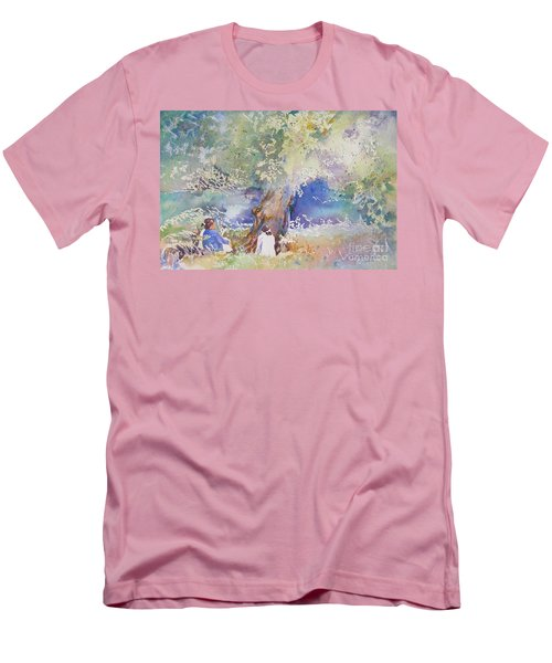 Tranquility At The Brandywine River Men's T-Shirt (Slim Fit) by Mary Haley-Rocks