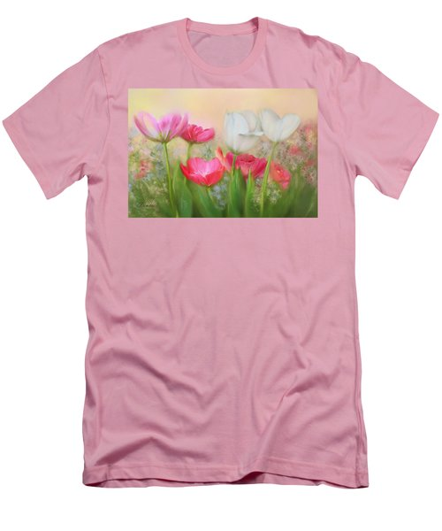 Men's T-Shirt (Slim Fit) featuring the painting Tulip Garden by Bonnie Willis