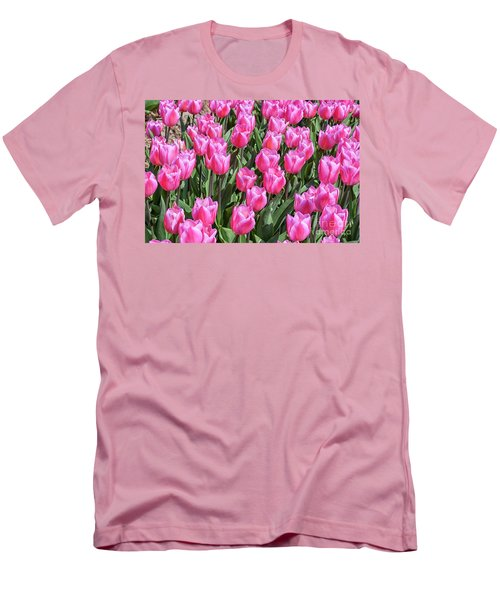 Men's T-Shirt (Slim Fit) featuring the photograph Tulips In Pink Color by Patricia Hofmeester