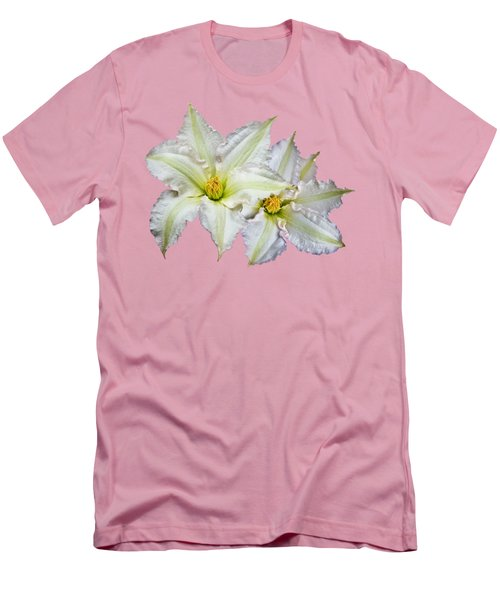 Two Clematis Flowers On Pale Purple Men's T-Shirt (Slim Fit) by Jane McIlroy
