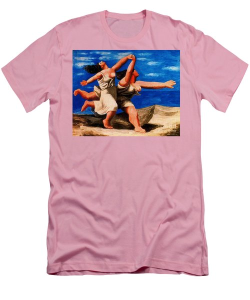 Two Women Running On The Beach Men's T-Shirt (Athletic Fit)