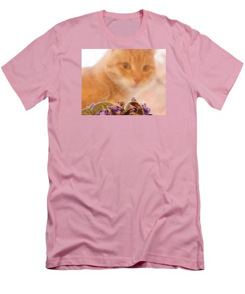 Violets With Cat Men's T-Shirt (Slim Fit) by Jana Russon