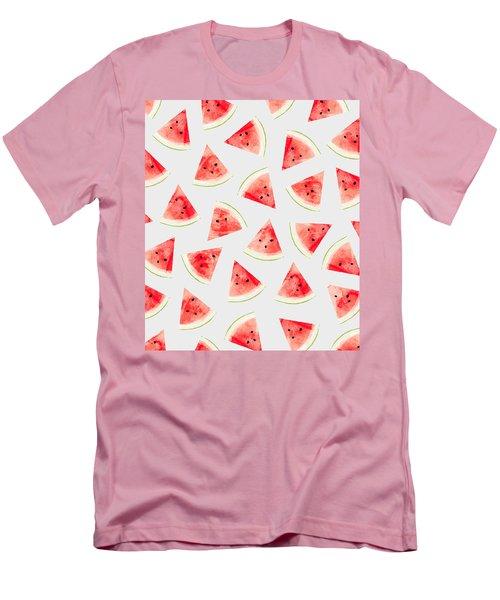 Watercolor Watermelon Pattern Men's T-Shirt (Slim Fit) by Uma Gokhale