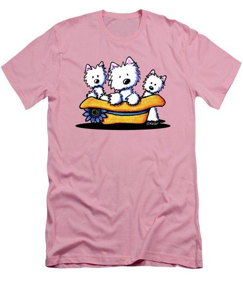 Westie Hat Trio Men's T-Shirt (Slim Fit) by Kim Niles